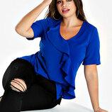 Матовая блуза с рюшей эффектного синего цвета р.18