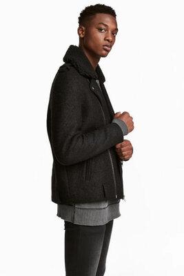 Пальто авиатор куртка косуха из смесовой шерсти от h&m
