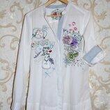 Стильная белая рубашка,блуза с вышивкой,М,10,38,46 Состояние новой