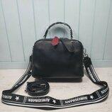 Женская кожаная сумка черная на два отделения жіноча шкіряна чорна стильная