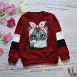 Мега модная теплая кофта Котик для девчонок