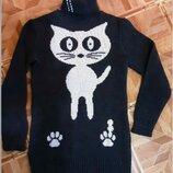 Теплый свитер - туника Кот р. 152
