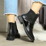 Женские деми кожаные ботинки челси с пряжкой, квадратный носок, ботинки кожа