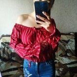 Красивая блузка 2в1 с открытыми плечами в полоску