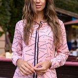 Блузка женская 42-56рр. турецкий супер н принт розовый молоко красный капучино