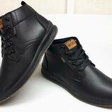 Ecco тёплые кожаные,, мужские зимние ботинки на шнурках сапоги мех