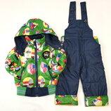 Детский демисезонный комбинезон куртка и штаны для мальчика зелёный размеры от 1 до 6 лет 4145