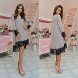 Ангоровое платье с кружевом интересного дизайна в пудровом цвете