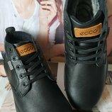 Ecco тёплые кожаные и стильные мужские зимние ботинки на шнурках сапоги мех сапоги Екко