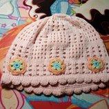Шапка шапочка демисезонная вязанная 1-2лет