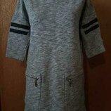 Свитшот удлиненный короткое платье с накладными карманами размер 10-12 new look