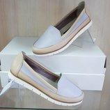Кожаные женские серые бежевые туфли балетки мокасины натуральная кожа