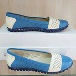 Кожаные женские туфли балетки мокасины с перфорацией синие, розовые натуральная кожа