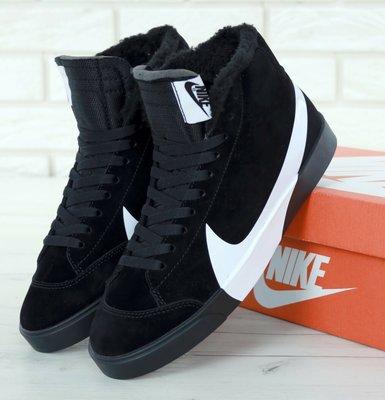 Зимние мужские кроссовки ботинки Nike Blazer Winter. Black. С мехом.