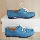 Кожаные женские туфли мокасины с перфорацией на шнурках голубые синие натуральная кожа