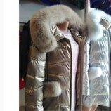 Зимнее пальто размер S золотое