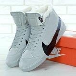 Зимние мужские кроссовки ботинки Nike Blazer Winter. White. С мехом.