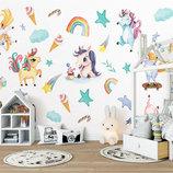 3D интерьерные виниловые наклейки на стены 7 Единорогов Пони с звездами 10 в детскую 2 листа 70-25