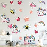 3D интерьерные виниловые наклейки на стены 5 Единорогов Пони с звездами 11 в детскую 2 листа 70-25