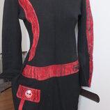 красивое шерстяное элегантное трикотажное теплое молодежное платье р. 46-48