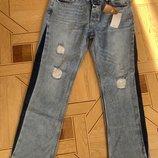 Mango Манго женские прямые джинсы лампасы, 42 р., USa 10, Organic cotton
