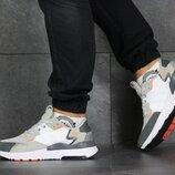 Adidas Nite Jogger Boost кроссовки мужские демисезонные бежевые с серым 8423