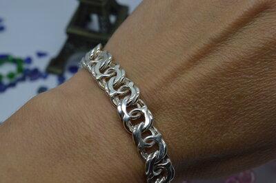 Серебряный браслет на руку Бисмарк Арабский брутал 925 22размер