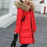 куртка детская теплая зимняя парка пальто пуховик с натуральным мехом