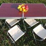 Стол складной для пикника, рыбалки 4 стула 120x60