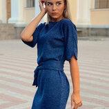 Женское трикотажное платье с поясом Liana ткань ангора-рубчик скл.10 арт.811