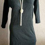 Платье теплое вязаный трикотаж серое vero moda размер 44-46