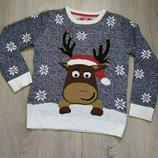 Яркий вязаний новогодний свитер