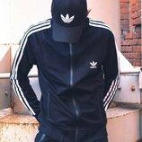 Олимпийка Утепленная мужская в стиле Adidas Round черная, спортивная кофта