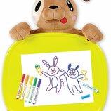 Crayola Дорожный набор столик собачка с фломастерами Travel Lap Desk with Storage Dog Plush & Marker