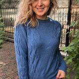 Женский качественный теплый джемпер свитер кофта с косыми косами большие размеры скл.80 арт.2693