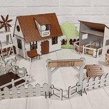 Домик для кукол LOL 2203 Сельский домик с мебелью, текстилем, светом и фермой