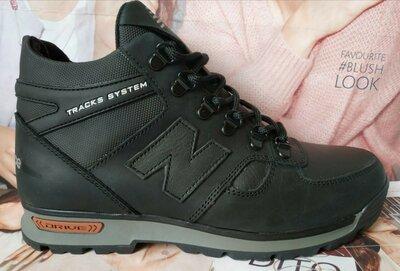 Мужские зимние кожаные спортивные ботинки New Balance Winter чёрная кожа