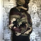 S-M Бершка Качество Вьетнам Пуховик дутик Куртка Хаки тёплая термо зима осень демисезонная стильная