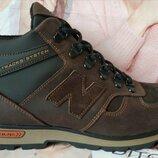 New Balance Winter Мужские зимние кожаные коричневые полуспортивные ботинки Nb очень удобные