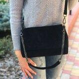 Женская замшевая сумка Farfalla Rosso чёрная жіноча шкіряна чорна маленькая замш