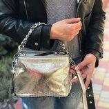 Женская кожаная сумка черная серебристая бронзовая жіноча шкіряна чорна серебриста бронзова стильная
