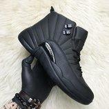 Черные мужские кроссовки Nike Air Jordan 12 Retro Black.