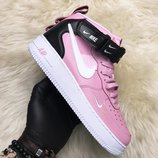 Женские розовые кроссовки Nike Air Force High Pink Black.