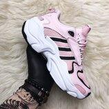 Женские розовые кроссовки Adidas x Naked Magmur Runner Pink White Black