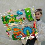 Большой детский игровой развивающий коврик пазл Город Дороги набор 4шт