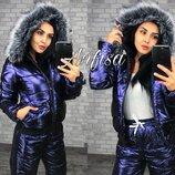 Костюм лыжный Синтепон куртка 300, штаны -200 Плащевка анти дождь, анти ветер с пропиткой металлик