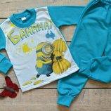 Пижама Пижамка теплая на баечке с начесом Миньоны Хлопок начес 80-86-92-98-104-110-116-122