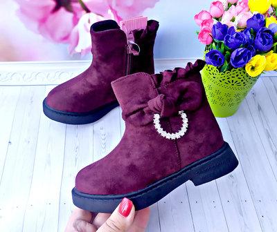 Зимние ботинки , сапоги на девочку р-р 27-31 бордовые