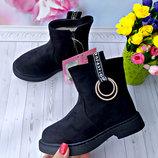 Зимние ботинки , сапоги на девочку р-р 27-31 черные