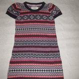 10-12 лет, тёплое вязаное зимнее платье с ангоркой, орнаменты, от H&M